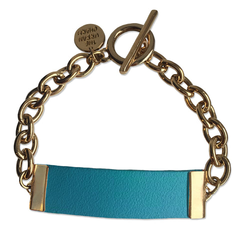 Baby Blue Leather and Chain ID Toggle Bracelet by The Urban Charm