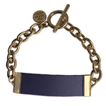 Navy Leather and Chain ID Toggle Bracelet