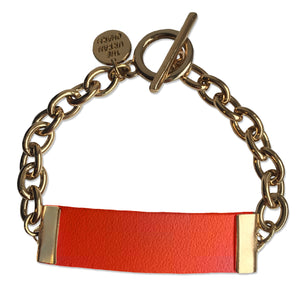 Orange Leather and Chain ID Toggle Bracelet