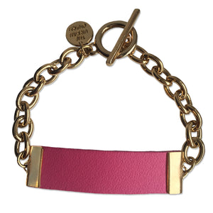 Pink Leather and Chain ID Toggle Bracelet