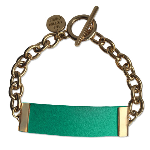 Turquoise Leather and Chain ID Toggle Bracelet