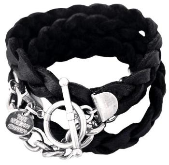 Silver Chain Black Braided Four Wrap Genuine Leather Bracelet