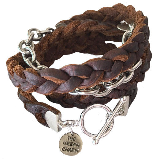 Brown Braided Four Wrap Genuine Leather Bracelet