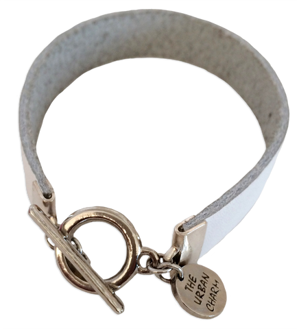 White Leather Color Band Bracelet