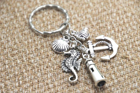 Beach Key Chain, Fish, Anchor, Lighthouse, Seahorse, Seashell