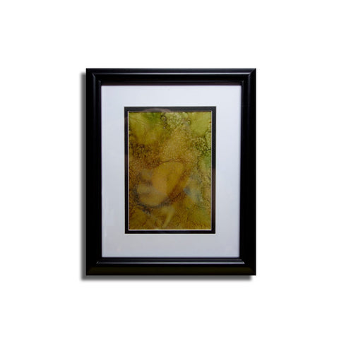Abstract #9 Hand-Painted Glass Art Double Matted and Framed, Double Glass