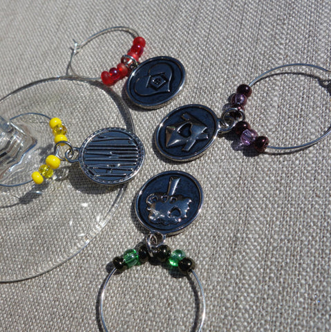All In The Family Set of 4 Wine Glass Charms
