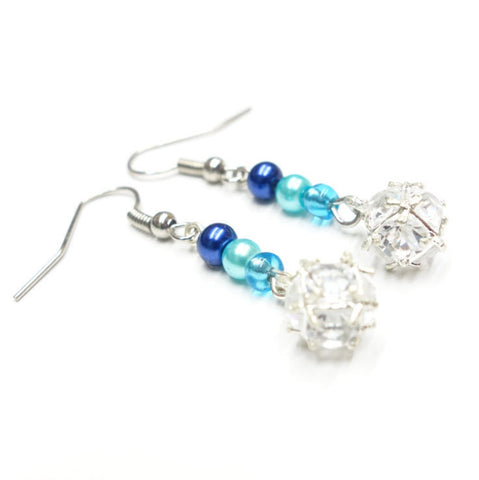 Blue Glass Pearls With White Rhinestone Ball Earrings