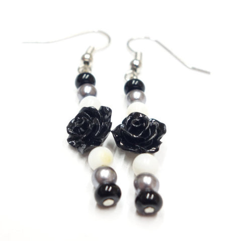 Black Rose Earrings With White, Grey and Black Glass Beads