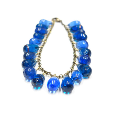 Antique Blue Glass Drop Bracelet