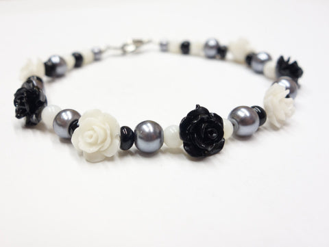 Black And White Rose Bracelet