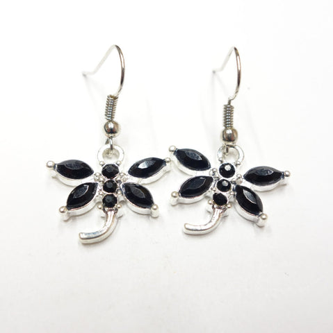Black Rhinestone Dragonfly Earrings Firefly, Simple and Elegant