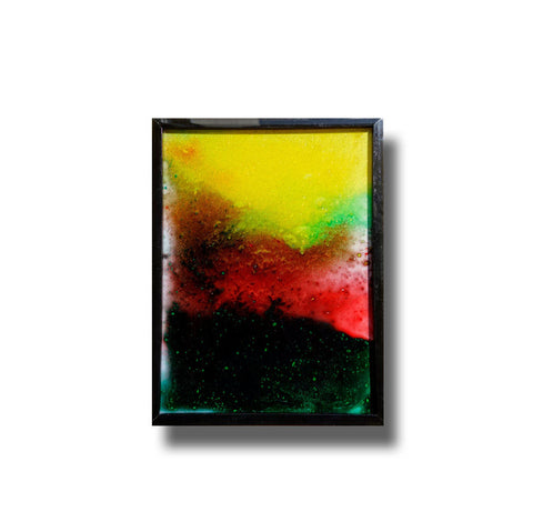 Abstract #6 Hand-painted Glass Art 6x8 Sleek Black Metal Frame, Table Top Or Wall Hangable