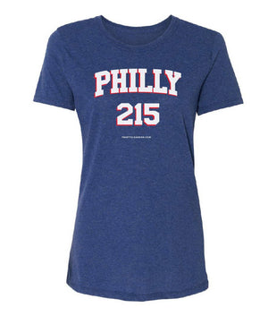 Womens Sixers Philly 215 Area Code T-Shirt - Thirty Six and Oh!