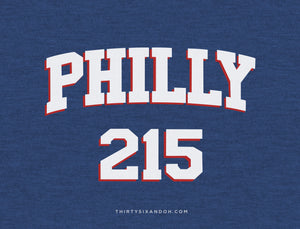 Womens Sixers Philly 215 Area Code T-Shirt