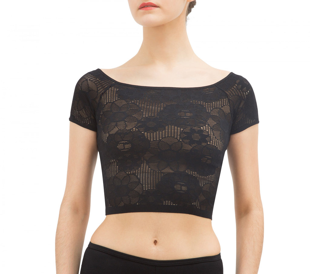 Rosette lace cropped top