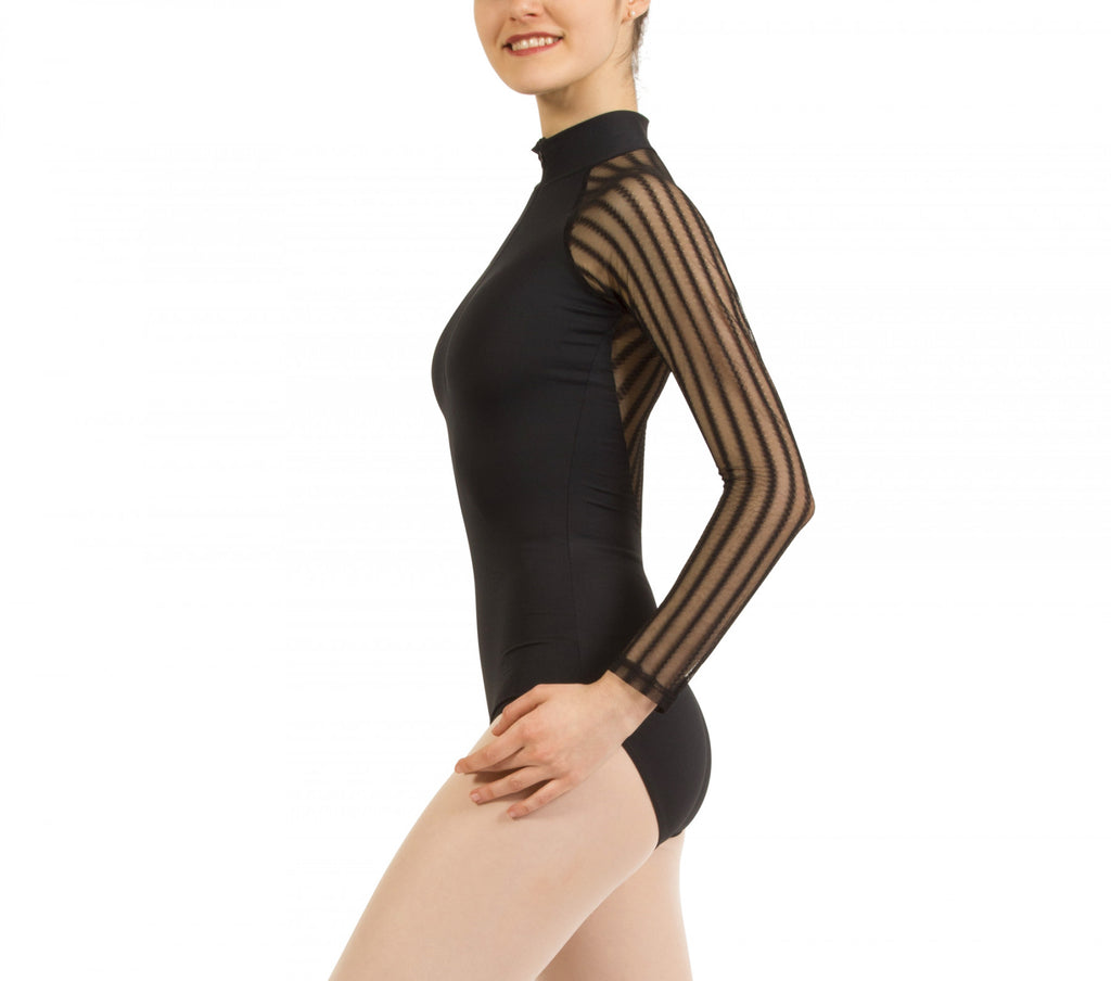 Officer collar fishnet leotard