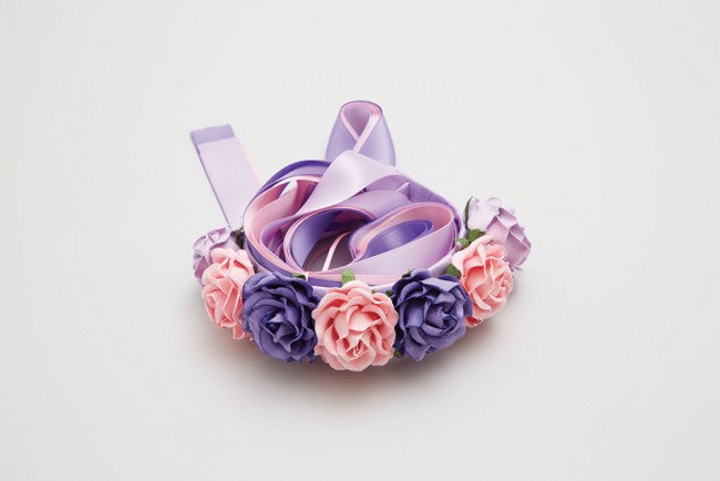 MIMY FLOWER HEADBAND W/RIBBON
