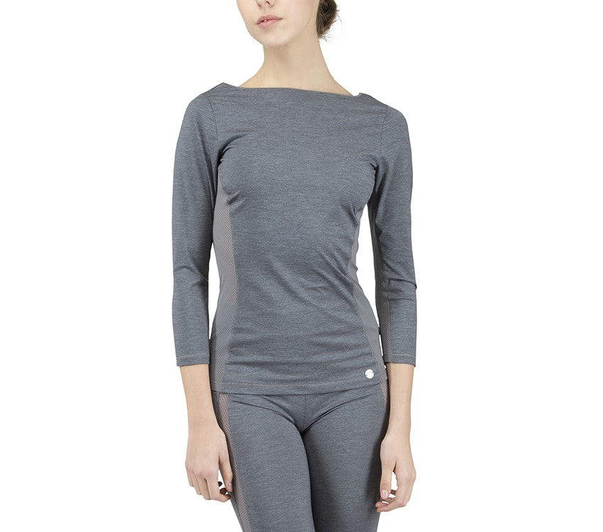 3/4 sleeves top with breathable mesh