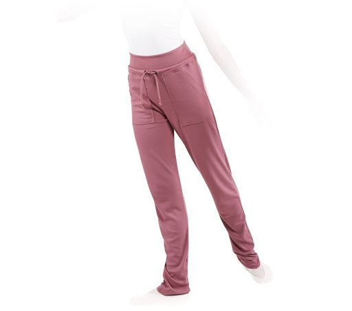 Straight Warm Pink Satin Warm-Up Pants