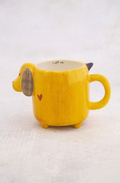 Yellow Folk Dog Mug | Cute Dog Mug From Tonketti