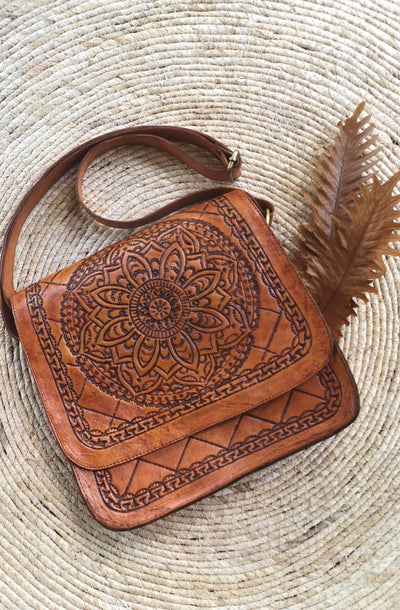 Estelle Leather Carved Saddle Bag - Mixed Colours
