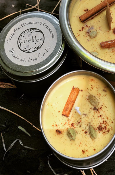 Foodie Range Tangerine Cinnamon and Cardamon Woodwick Bowl Candles | Beautiful candles by Firelilee