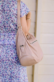 Blush Pink Leather Handbag back view | Classic Leather style by Tonketti