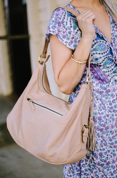 Blush Pink Leather Handbag | Classic Leather style by Tonketti