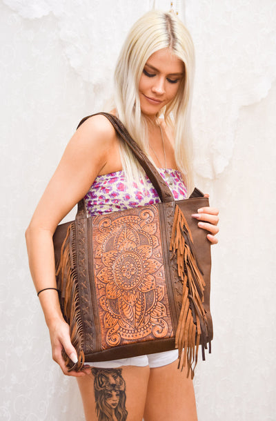 Ivy Leather Tote Bag | Bohemian Style by Tonketti