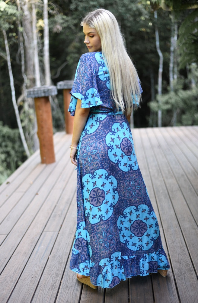 Lulu Print Combi Wrap Maxi Dress from back | Unique Designs by Honey Bunch
