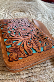 Shannie Floral Wallet | Handmade Leather wallets side