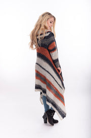 Harper Striped Mohair Jacket Back  | Warm Cosy Mohair Winter Jacket From Tonketti