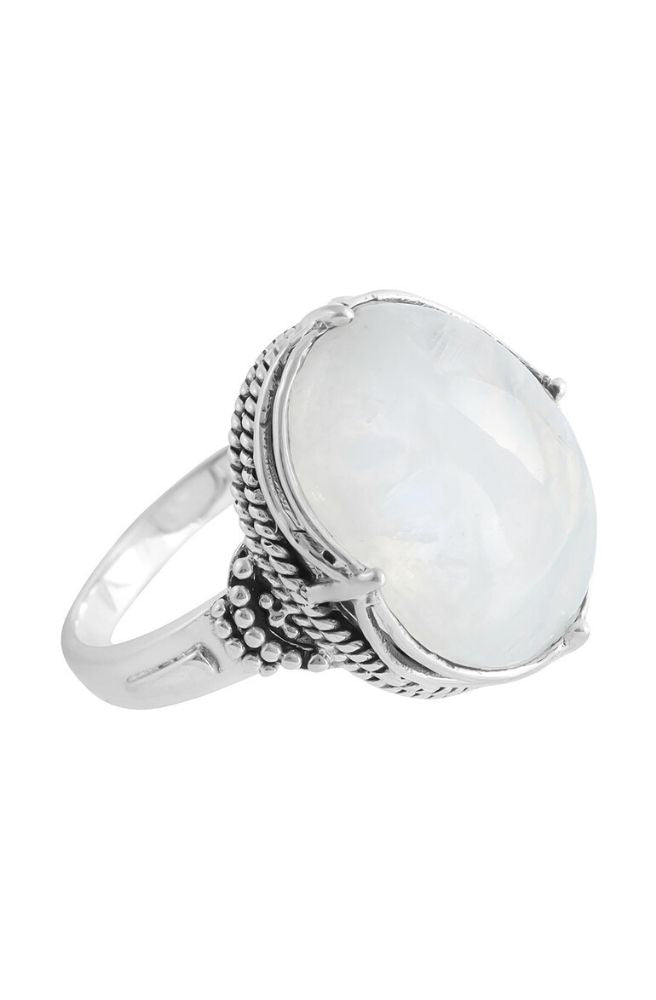 Sterling Silver Frozen Wonderland Rainbow Moonstone Ring l Size 7 l Boho Ring by Midsummer Star