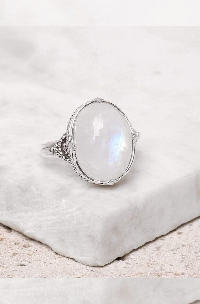 Sterling Silver Frozen Wonderland Rainbow Moonstone Ring l Size 8 l Boho Ring by Midsummer Star