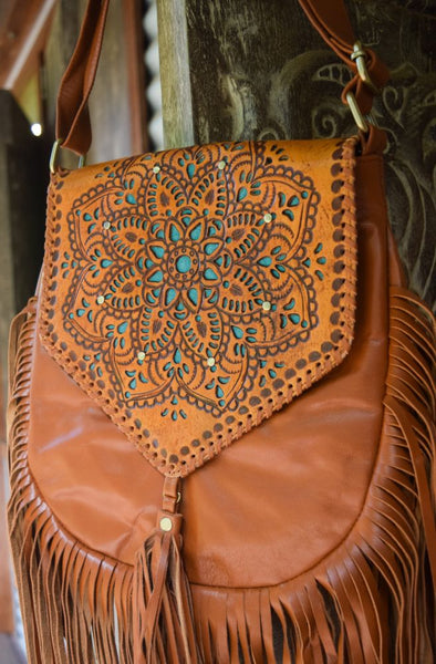 Universe Leather Shoulder Bag - Teal | Bohemian Style by Tonketti