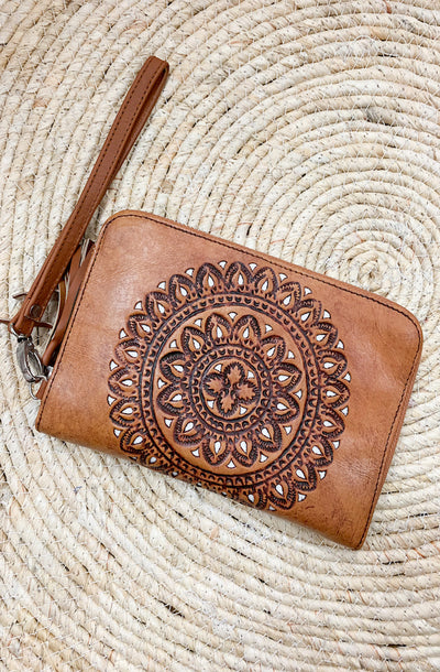 Wild Bloom Leather Wallet - Cream