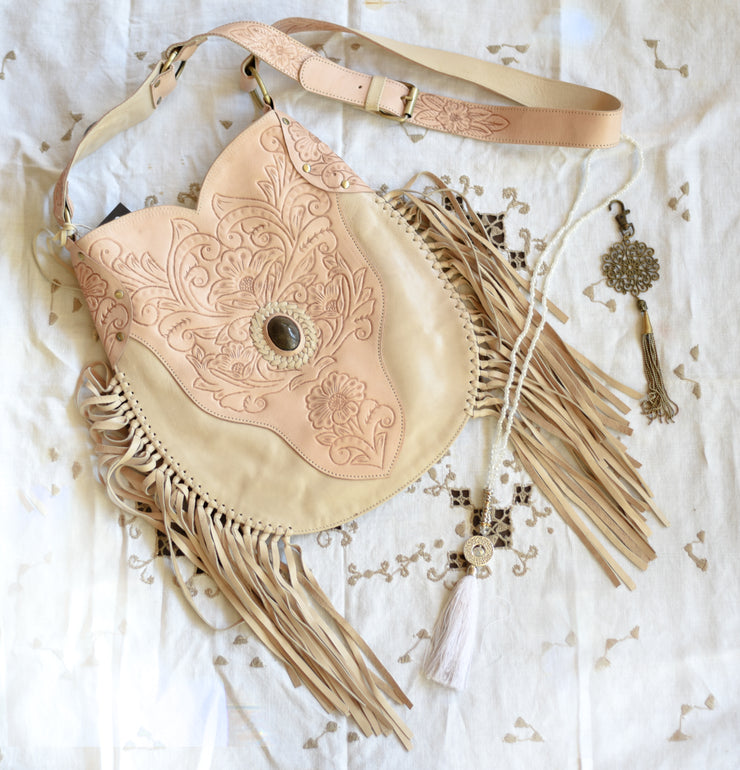 Winnie Carved Leather Shoulder Bag | Bohemian Style by Tonketti
