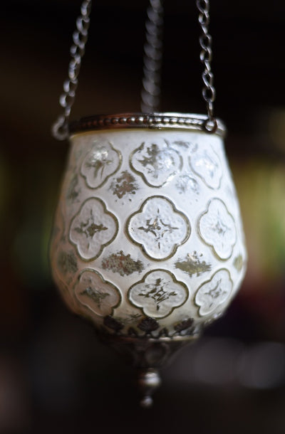 Hanging Votive Classic White Candle Holder | Bohemian Style by Tonketti