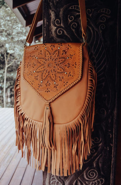 Universe Leather Shoulder Bag - Cream | Bohemian Style by Tonketti