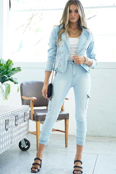 Bleach Blue Refuge Next Degree Jogger Jeans - Tonketti
