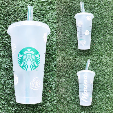 Scattered Roses Custom Starbucks Reusable Tumbler