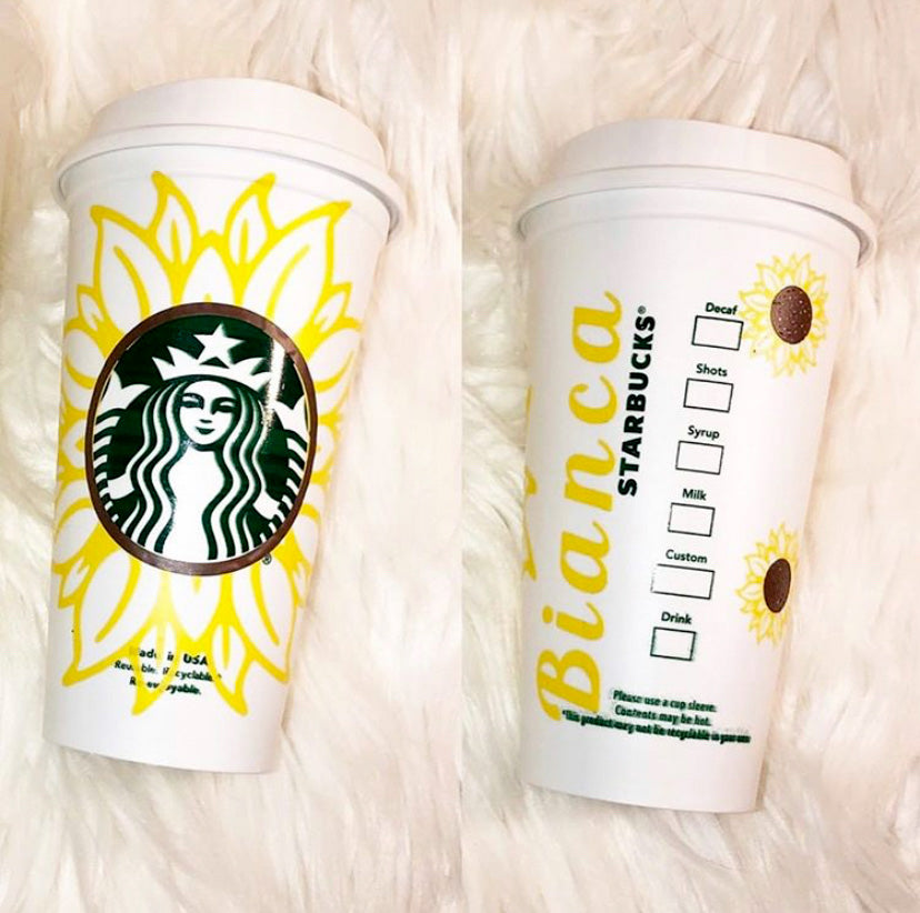 Sunflower Custom Starbucks Reusable Tumbler