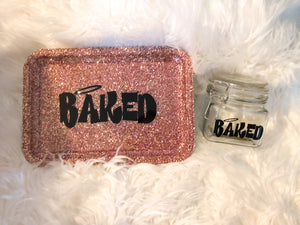 Baked Rose Gold Glittered Rolling Tray