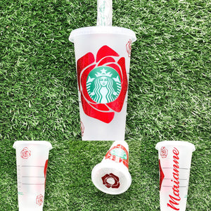 Red Roses Custom Starbucks Reusable Tumbler