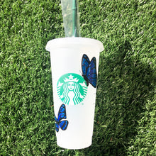 Load image into Gallery viewer, Blue Butterfly Custom Starbucks Reusable Tumbler