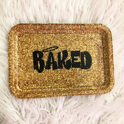 Baked Gold Gluttered Rolling Tray