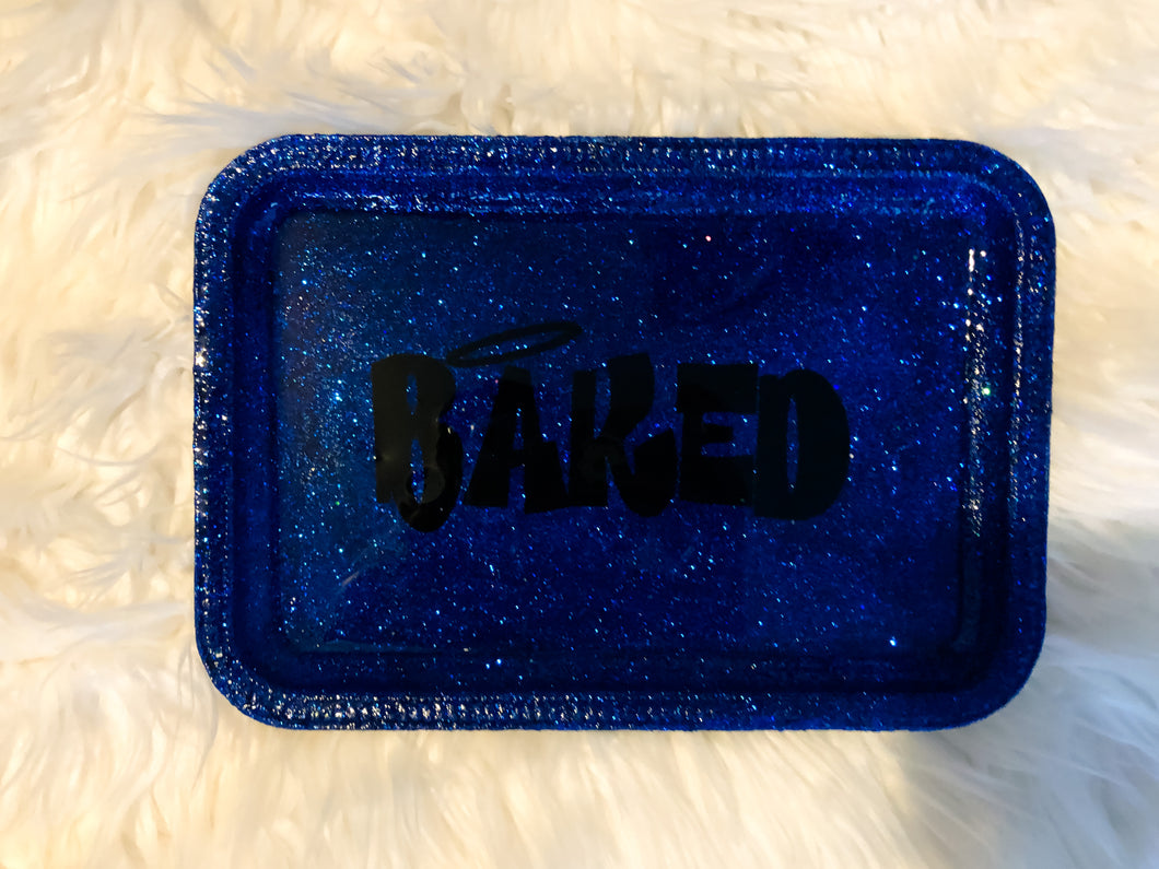 Baked Blue Glittered Rolling Tray
