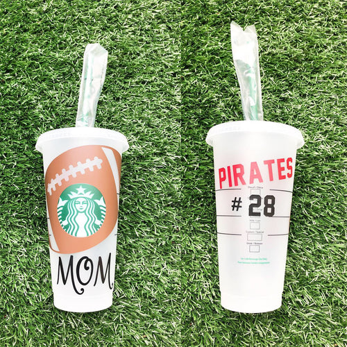 Football Mom Custom Starbucks Reusable Tumbler
