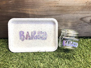 Baked White Glittered Rolling Tray